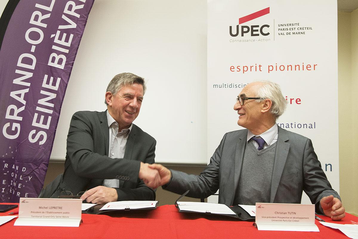 Signature de convention entre l'UPEC et Grand Orly Seine Bièvre