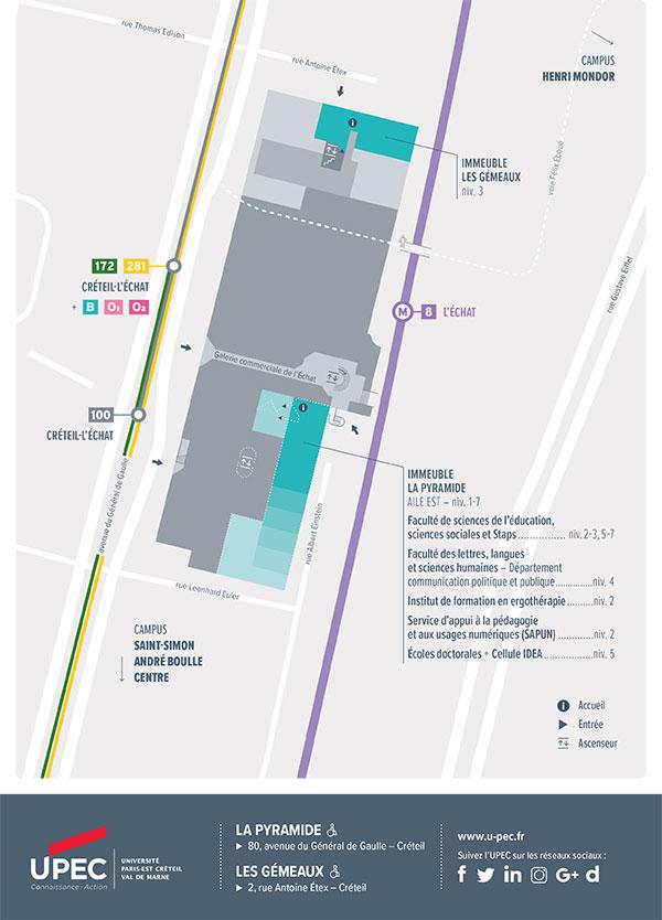 Carte du campus La Pyramide