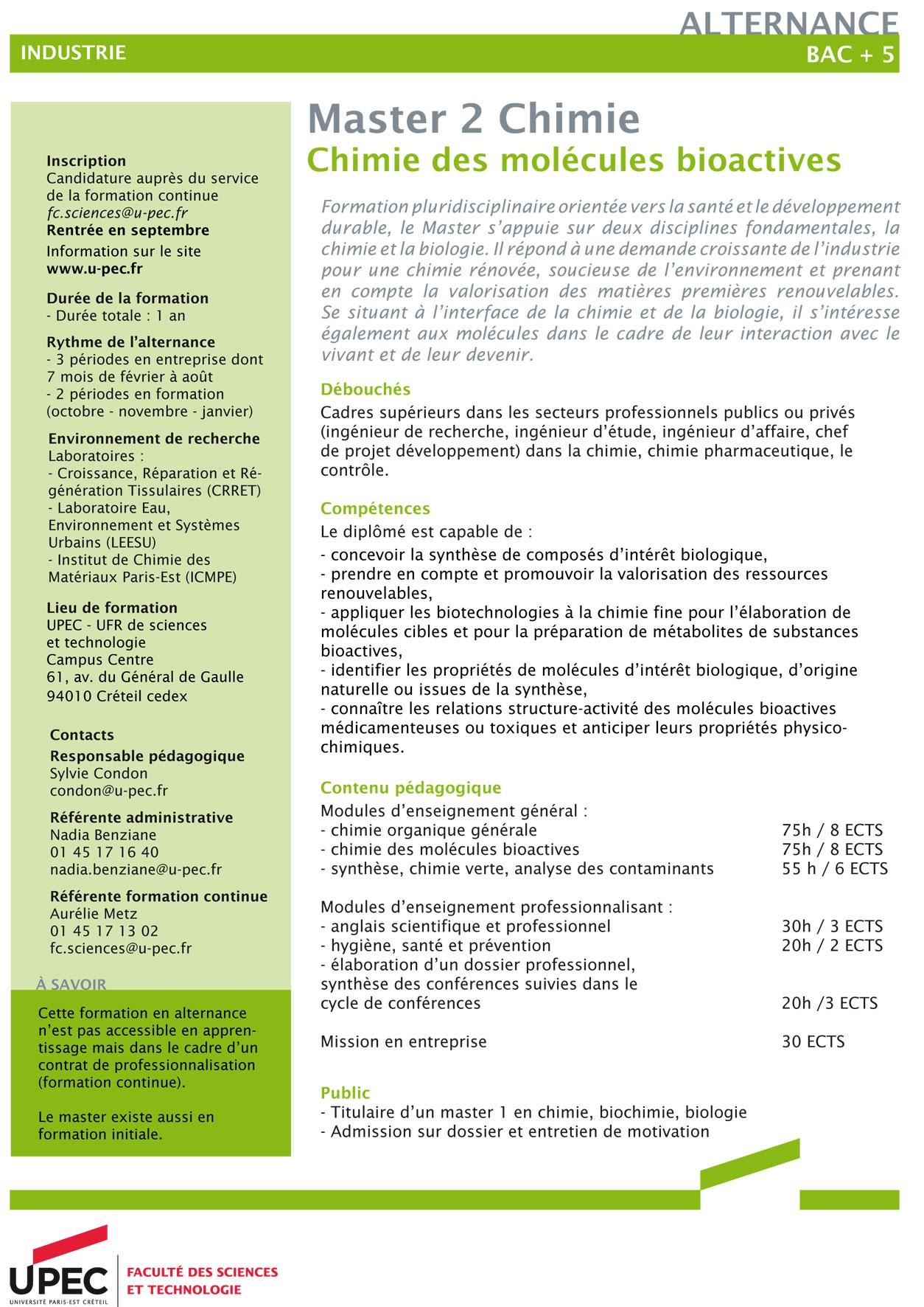 Upec Master Chimie Parcours Chimie Des Molécules Bioactives