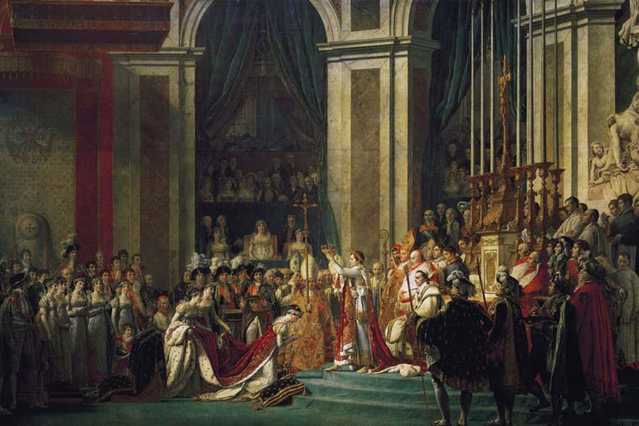 « Sacre de l'empereur Napoléon Ier et couronnement de l'impératrice Joséphine dans la cathédrale Notre-Dame de Paris, le 2 décembre 1804 », par Jacques-Louis David. Wikipédia
