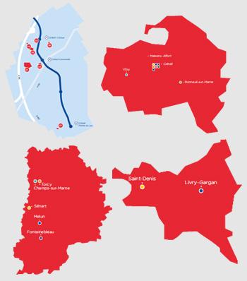 Implantation des sites géographiques de l'UPEC
