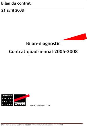 Bilan-diagnostic du contrat quadriennal 2005-2008