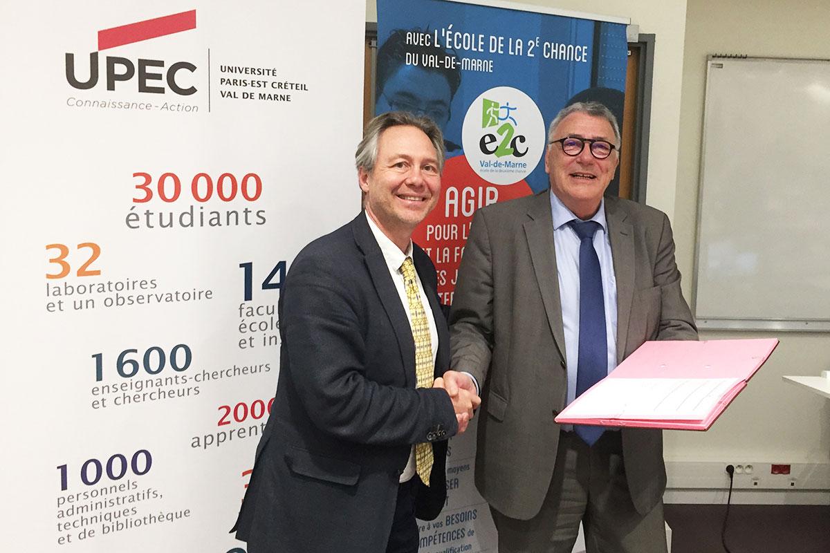 L'UPEC et l'École de la 2e Chance du Val-de-Marne renouvellent leur partenariat