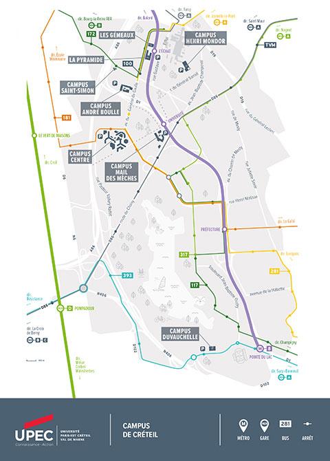 Plan des campus de Créteil
