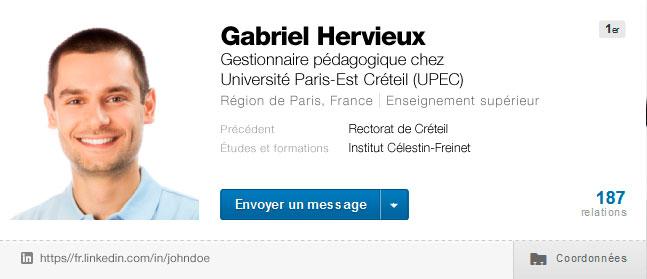 LinkedIn - Simulation profil Gestionnaire pédagogique