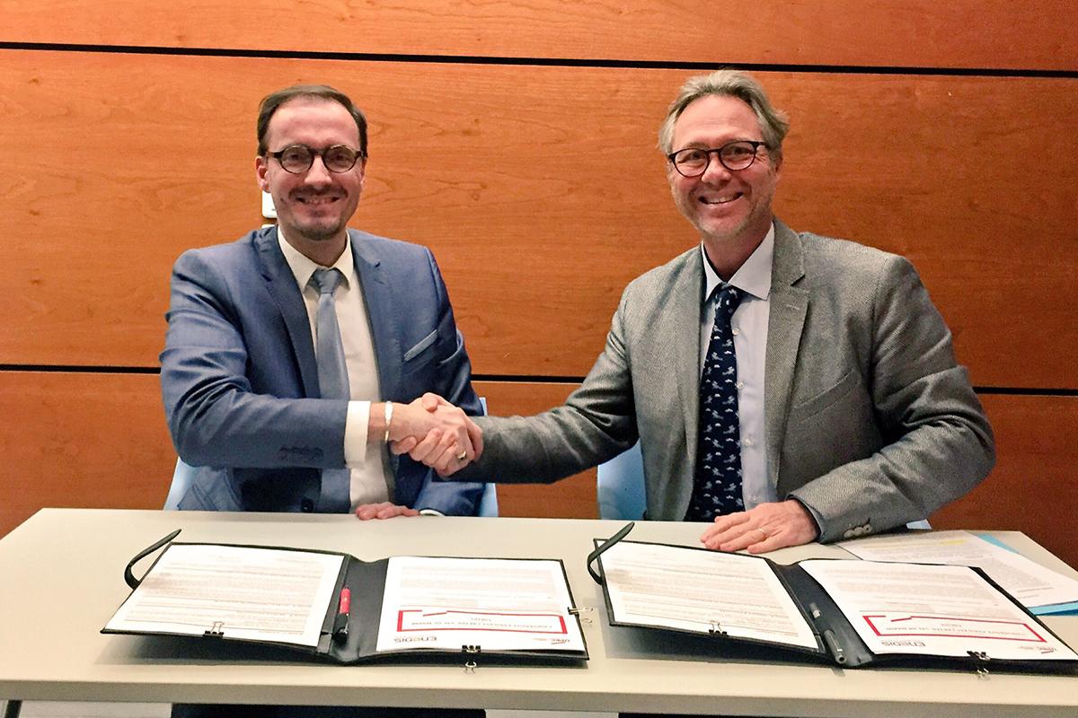 Signature de la convention entre l'UPEC et Enedis, Robert Poggi et Eric Léonel